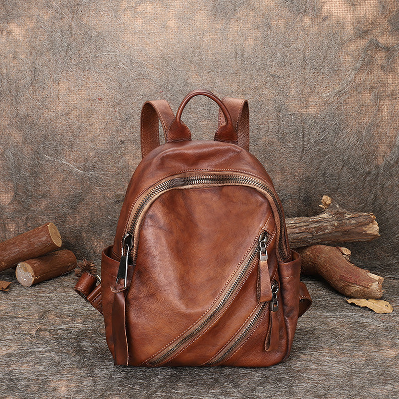 Vintage Womens Brown Leather Backpack Purse Book Bag Purse for Women