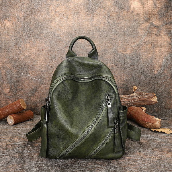 Vintage Womens Brown Leather Backpack Purse Book Bag Purse for Women green