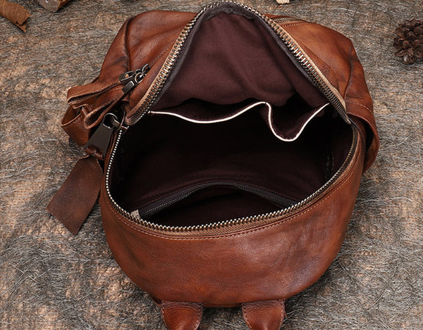 Vintage Womens Brown Leather Backpack Purse Book Bag Purse for Women quality