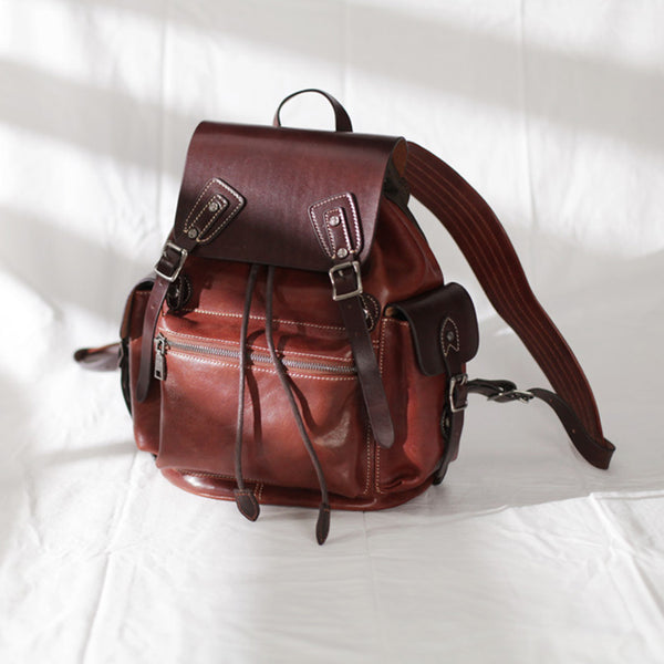 Vintage Womens Brown Leather Backpack Purse Laptop Book Bag for Women Chic