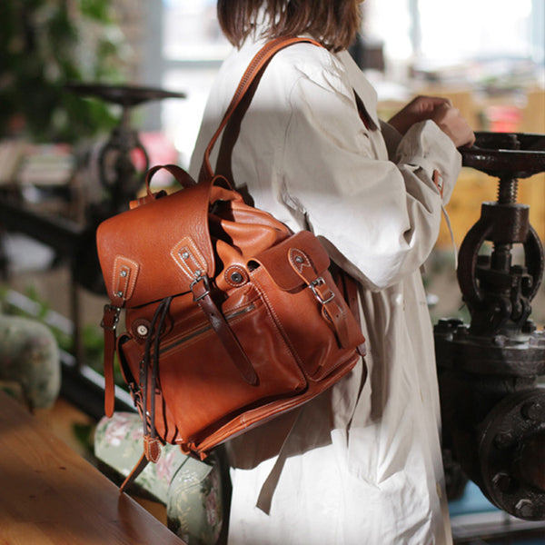 Vintage Womens Brown Leather Backpack Purse Laptop Book Bag for Women Designer