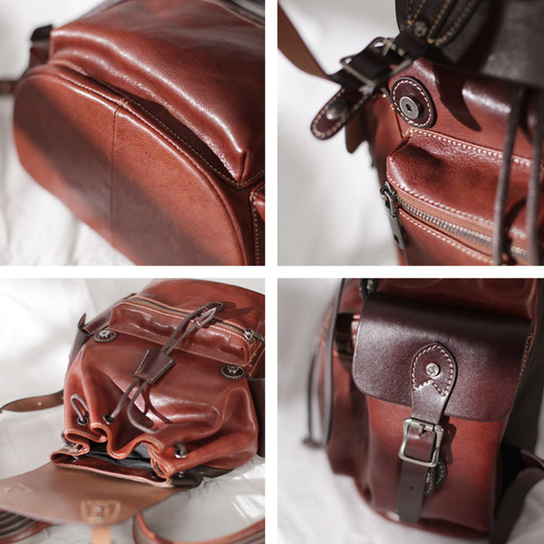 Vintage Womens Brown Leather Backpack Purse Laptop Book Bag for Women Details