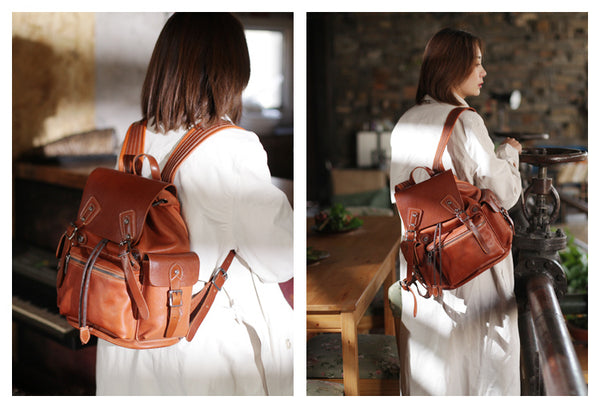 Vintage Womens Brown Leather Backpack Purse Laptop Book Bag for Women Outside
