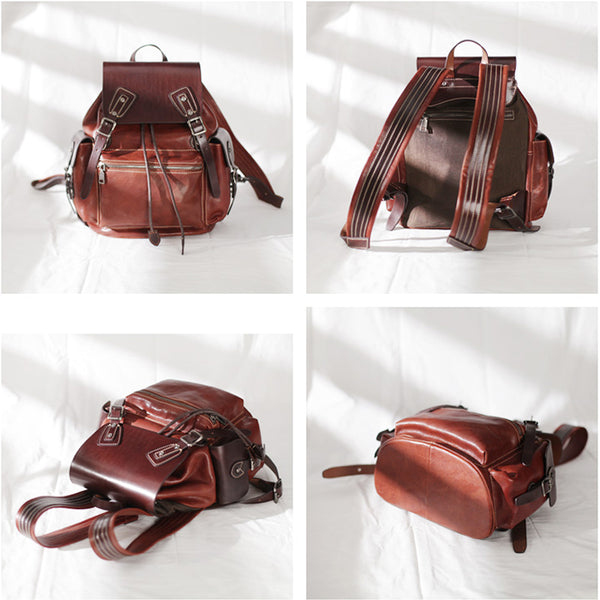 Vintage Womens Brown Leather Backpack Purse Laptop Book Bag for Women cool