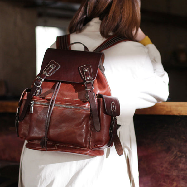 Vintage Womens Brown Leather Backpack Purse Laptop Book Bag for Women cute