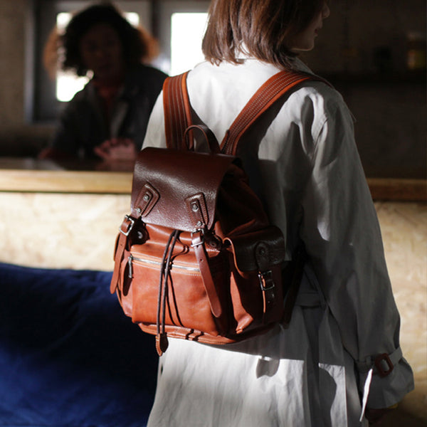 Vintage Womens Brown Leather Backpack Purse Laptop Book Bag for Women funky