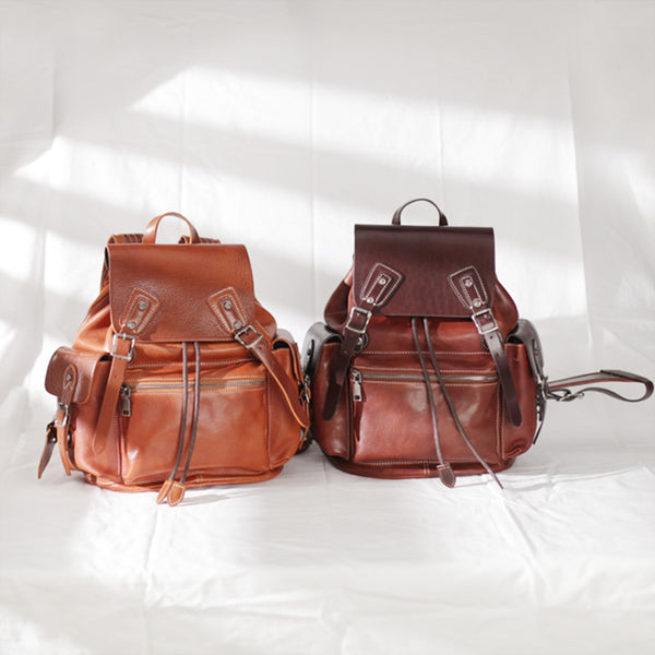 Vintage Womens Brown Leather Backpack Purse Laptop Book Bag for Women gift