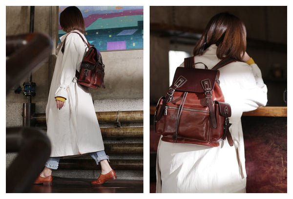 Vintage Womens Brown Leather Backpack Purse Laptop Book Bag for Women stylish