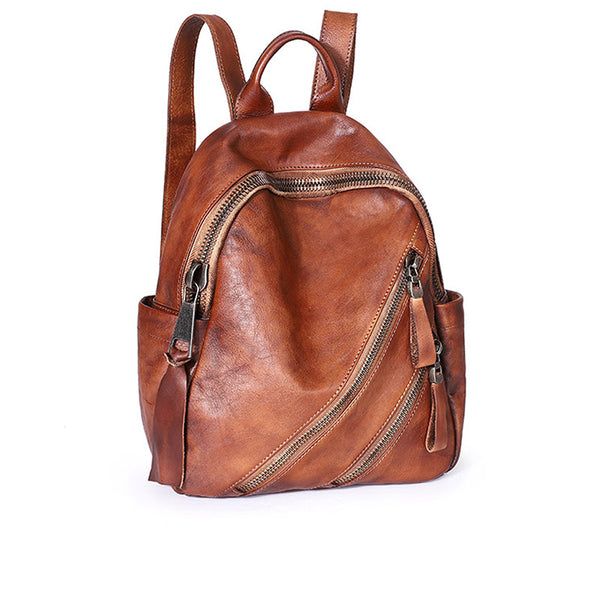 Womens Vintage Brown Leather Backpack Purse Book Bag Purse for Women