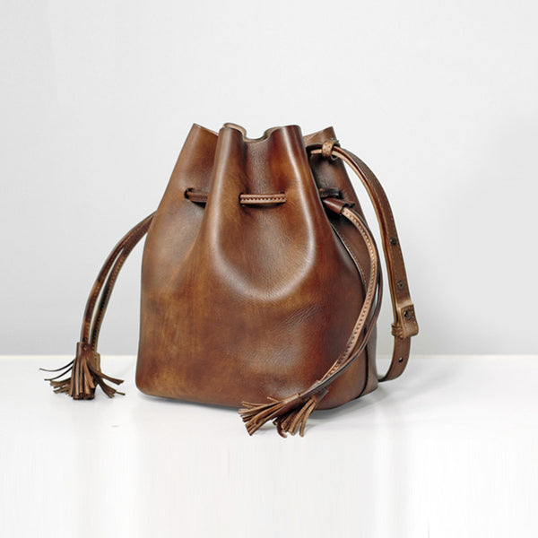 Vintage Womens Brown Leather Bucket Bag Crossbody Bags for Women Accessories