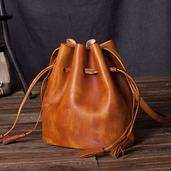 Vintage Womens Brown Leather Bucket Bag Crossbody Bags for Women Boutique