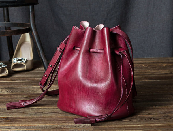Vintage Womens Brown Leather Bucket Bag Crossbody Bags for Women Handmade