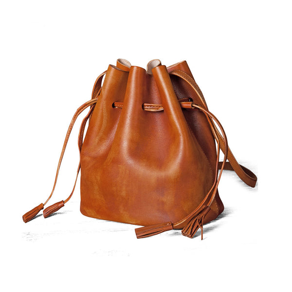 Vintage Womens Brown Leather Bucket Bag Crossbody Bags for Women best