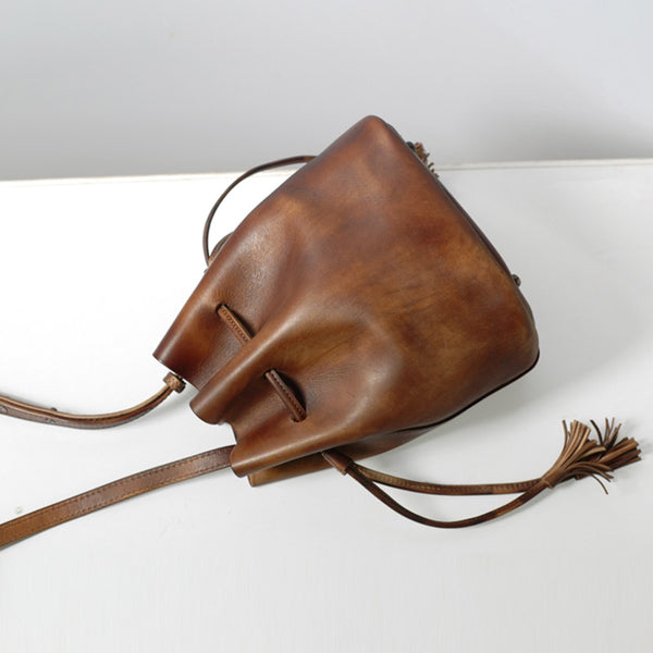 Vintage Womens Brown Leather Bucket Bag Crossbody Bags for Women cool
