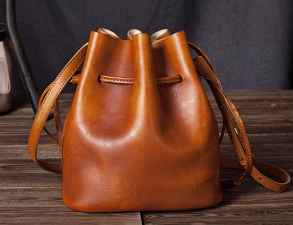 Vintage Womens Brown Leather Bucket Bag Crossbody Bags for Women fashion