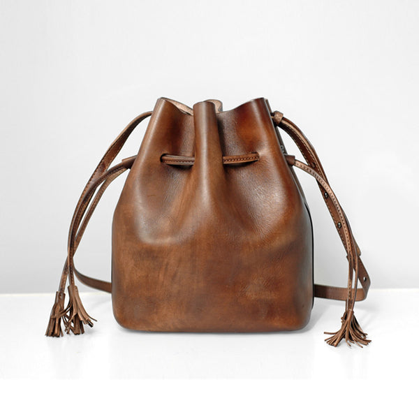 Vintage Womens Brown Leather Bucket Bag Crossbody Bags for Women