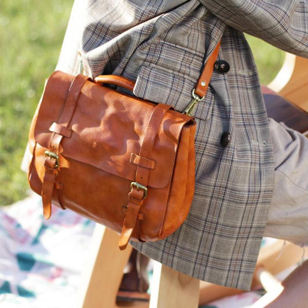 Vintage Womens Brown Leather Crossbody Messenger Bags Satchel Bag Purse for Women Cool