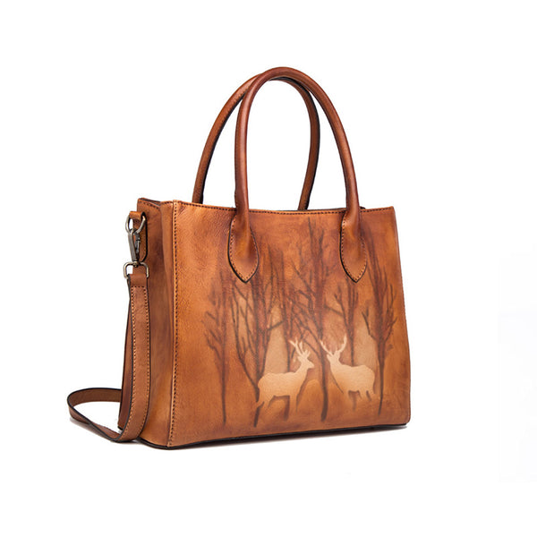 Vintage Womens Brown Leather Totes Handbags Shoulder Bag for Women