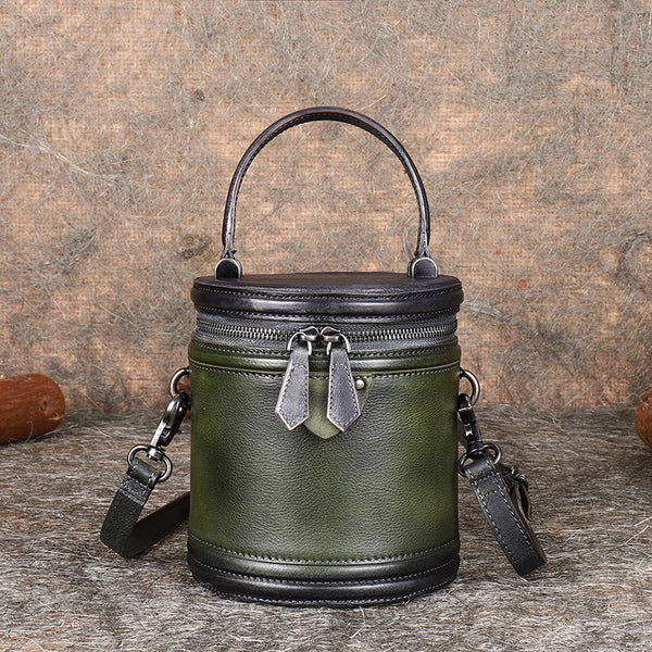 Vintage Womens Genuine Leather Crossbody Bucket Bag Handbags for Women Genuine Leather