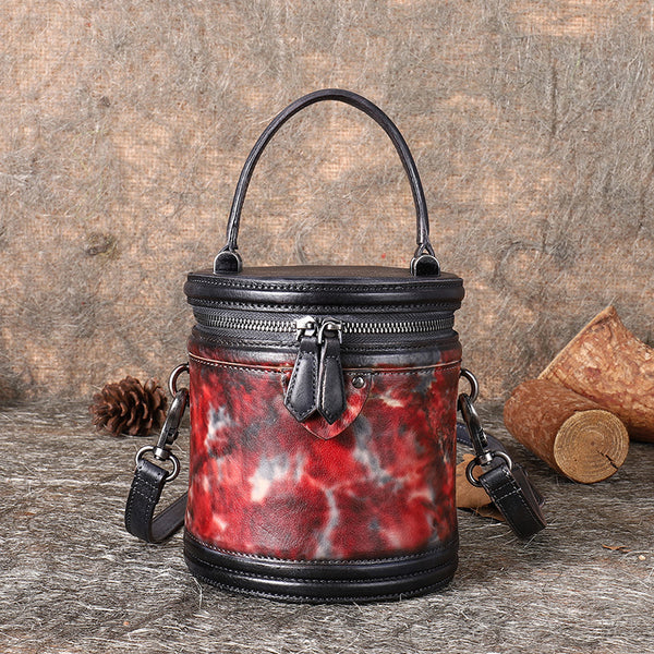 Vintage Womens Genuine Leather Crossbody Bucket Bag Handbags for Women Gift
