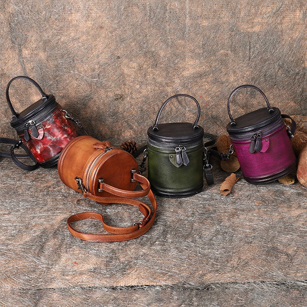 Vintage Womens Genuine Leather Crossbody Bucket Bag Handbags for Women Handmade