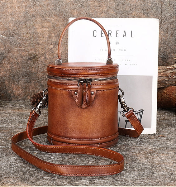 Vintage Womens Genuine Leather Crossbody Bucket Bag Handbags