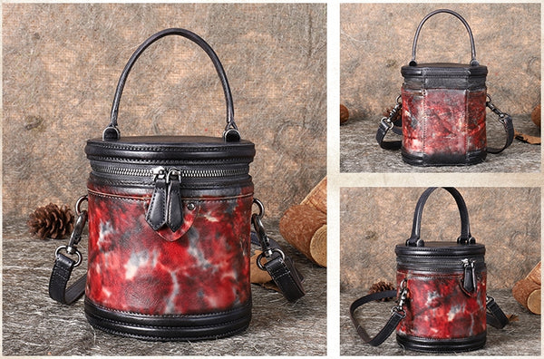 Vintage Womens Genuine Leather Crossbody Bucket Bag Handbags for Women Affordable