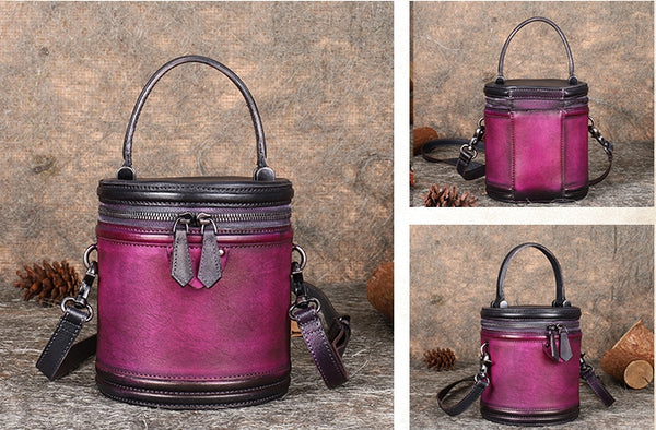 Vintage Womens Genuine Leather Crossbody Bucket Bag Handbags for Women Beautiful