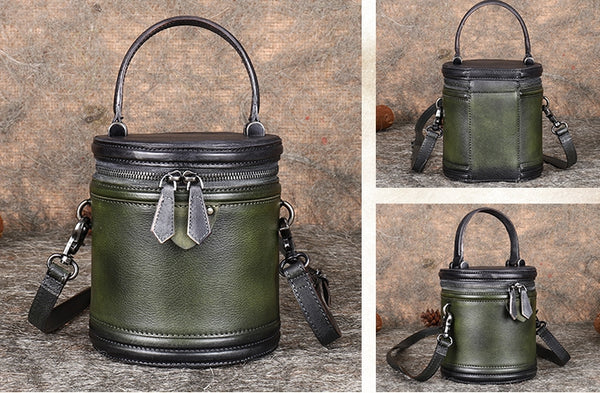 Vintage Womens Genuine Leather Crossbody Bucket Bag Handbags for Women Chic