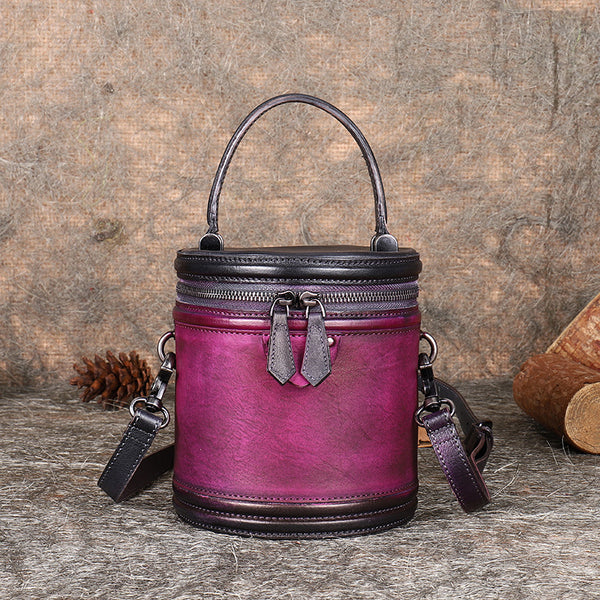 Vintage Womens Genuine Leather Crossbody Bucket Bag Handbags for Women Funky