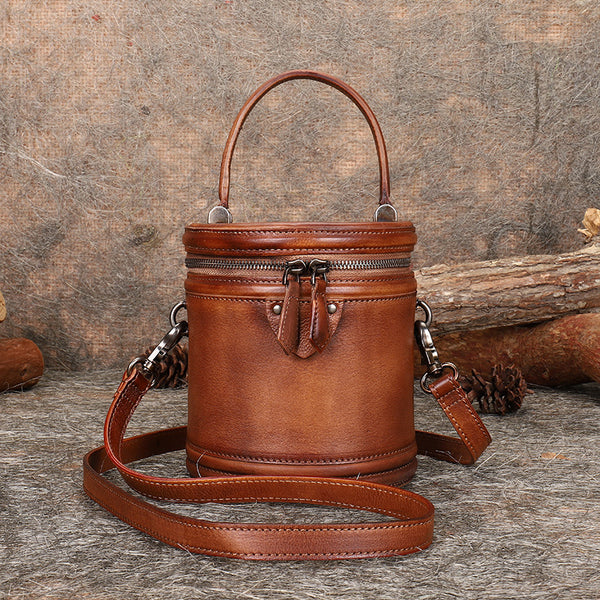 Vintage Womens Genuine Leather Crossbody Bucket Bag Handbags for Women Fashion