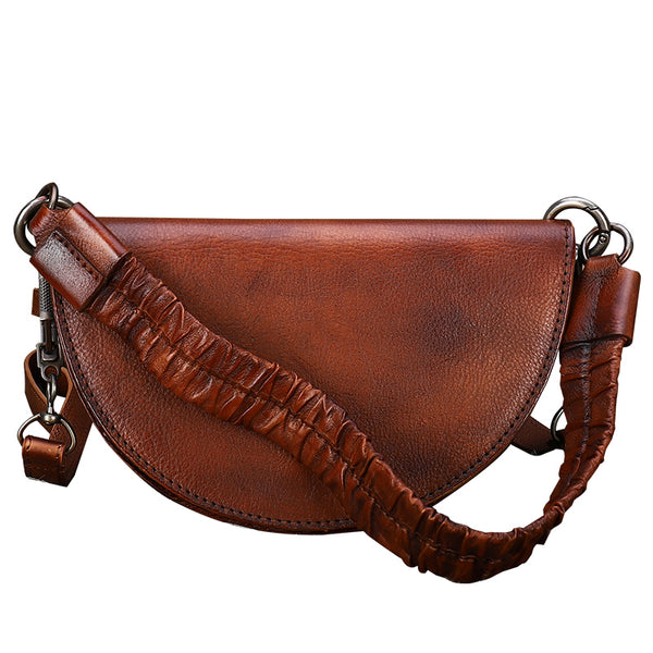 Vintage Womens Half Round Genuine Leather Crossbody Bag Purse Handbags For Women Affordable