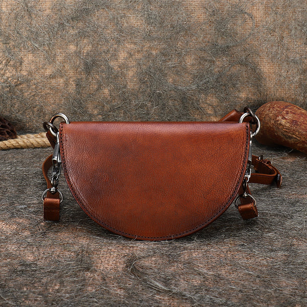 Vintage Womens Half Round Genuine Leather Crossbody Bag Purse Handbags For Women Best