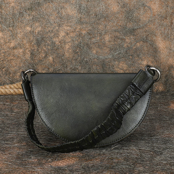 Vintage Womens Half Round Genuine Leather Crossbody Bag Purse Handbags For Women Cowhide