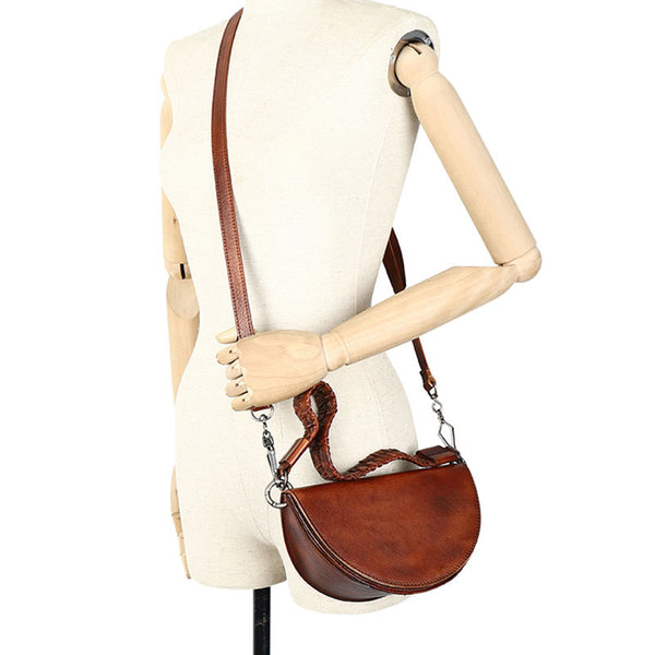 Vintage Womens Half Round Genuine Leather Crossbody Bag Purse Handbags For Women Fashion