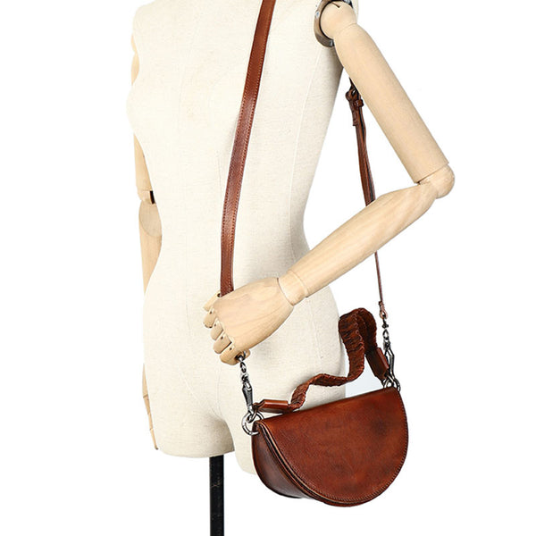 Vintage Womens Half Round Genuine Leather Crossbody Bag Purse Handbags For Women Funky
