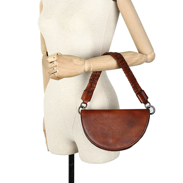 Vintage Womens Half Round Genuine Leather Crossbody Bag Purse Handbags For Women Genuine Leather