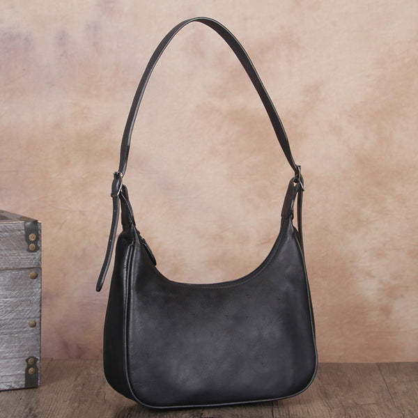 Vintage Womens Leather Boho Bag Shoulder Handbags Purse for Women Black