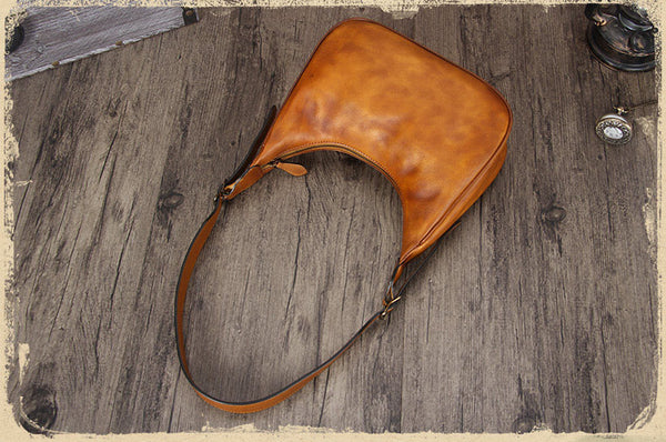 Vintage Womens Leather Boho Bag Shoulder Handbags Purse for Women Brown