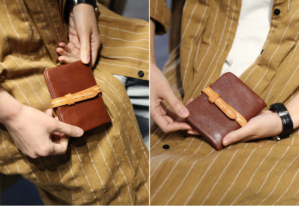 Vintage Womens Leather Small Wallet Purse Handmade Clutch for Women gift