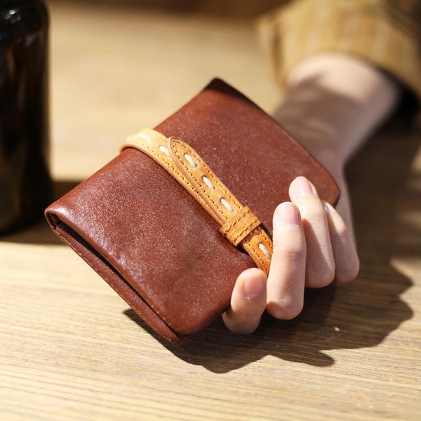 Vintage Womens Leather Small Wallet Purse Handmade Clutch for Women