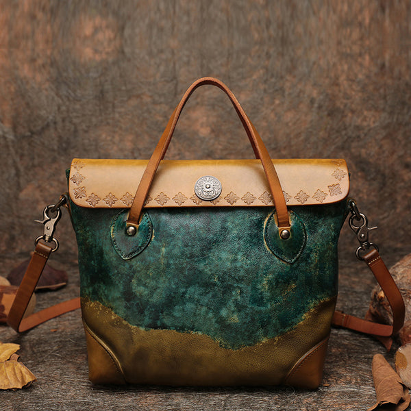 Vintage Womens Leather Tote Bag Handbags Purses for Women