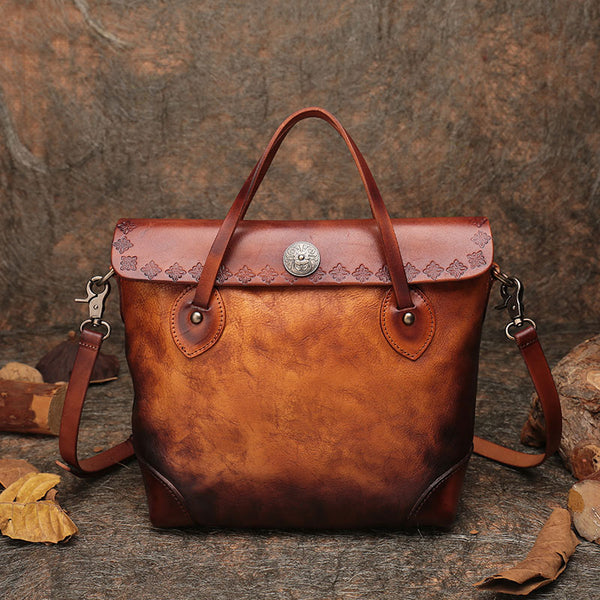 Vintage Womens Brown  Leather Tote Handbags Purse Crossbody Handbags for Women