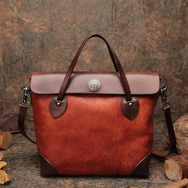 Vintage Womens Leather Tote Bag Handbags