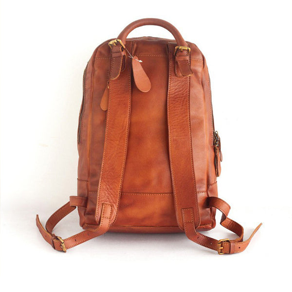 Vintage Womens Small Brown Leather Backpack Bag Purse Cool Backpacks for Women Chic