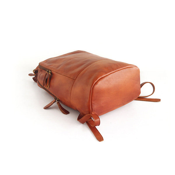 Vintage Womens Small Brown Leather Backpack Bag Purse Cool Backpacks for Women Designer