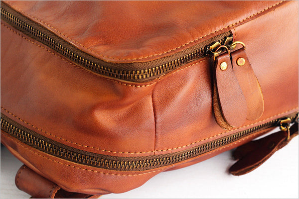 Vintage Womens Small Brown Leather Backpack Bag Purse Cool Backpacks for Women Genuine Leather