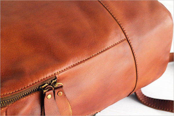 Vintage Womens Small Brown Leather Backpack Bag Purse Cool Backpacks for Women Handmade