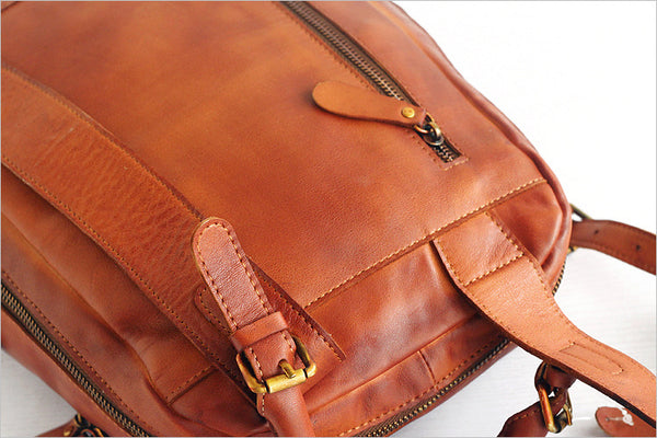 Vintage Womens Small Brown Leather Backpack Bag Purse Cool Backpacks for Women Inside