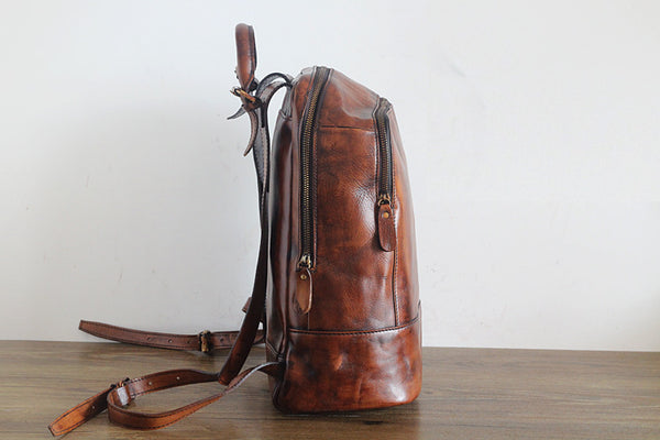 Vintage Womens Small Brown Leather Backpack Bag Purse Cool Backpacks for Women Minimalist